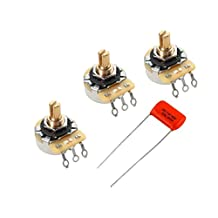 Lot of 3 (3X) CTS 450G Series 250K Vintage-style Short Split Shaft Audio Taper Potentiometers w/ Sprague Orange Drop .047uf/400v cap