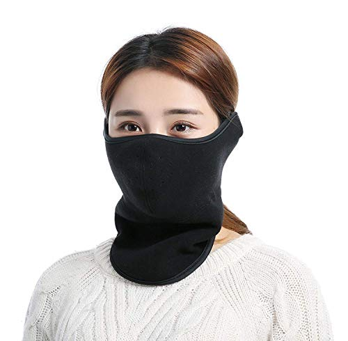 Unisex Winter Windproof Dust Fleece Ski Half Face Mask Cover Neck Face Mouth Ear Warmer Facemask for Motorcycles Snowboard Cycling (Black)