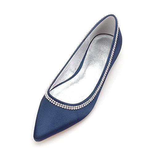 donna Raso Blu cantieri da scarpe scuro seta da trapano Qingchunhuangtang scarpe versatile punta calzature acqua grandi scarpe e con di matrimonio piatto fwHRdCq
