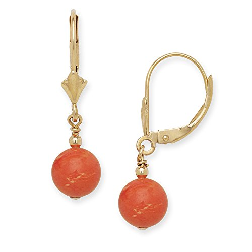 Jewelryweb Solid 14k Yellow or White Gold Simulated Coral Gemstone Lever-Back Dangling Drop Earrings (white-gold) (yellow-gold) ()