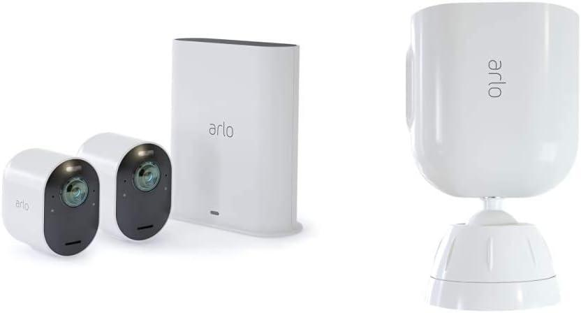 2 Caméras Ultra 4K Hdr Avec Station D'Acceuil et Support Aimanté Blanc...