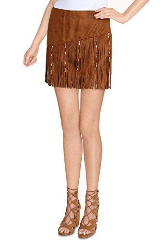 Cherry Paris venta Special Promo -40%–Mini falda corta mujer Joan materia ante Copa derecha con flecos Zip Invisible a la trasera camello