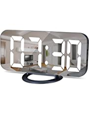 SZELAM Digital Clock Large Display, LED Electric Alarm Clock Mirror Surface for Makeup with Diming Mode, 3 Levels Brightness, Dual USB Ports Modern Decoration for Home Bedroom Decor