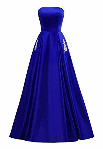 Casa Changuan Donne Perline Line Sera Con Raso Ritorno Reale A Delle Un Tasca Vestito Promenade Lungo Blu Di Abiti La FBqwZwI