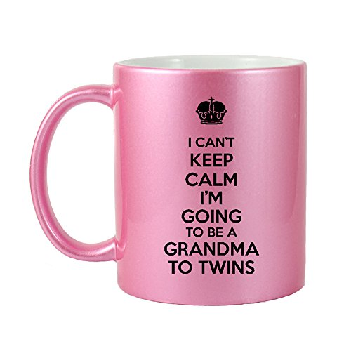 Keep Calm Pink Glitter - Mama Birdie I Can't Keep Calm I'm Going To Be A Grandma To Twins Coffee Cup/Tea Mug (Glitter Pink)