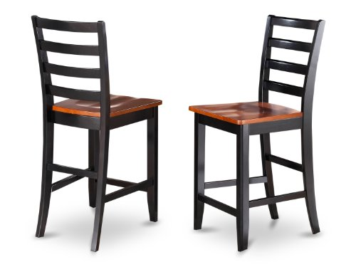 East West Furniture FAS-BLK-W wood Seat Stool Set with Ladder Back, Black/Cherry Finish, Set of 2