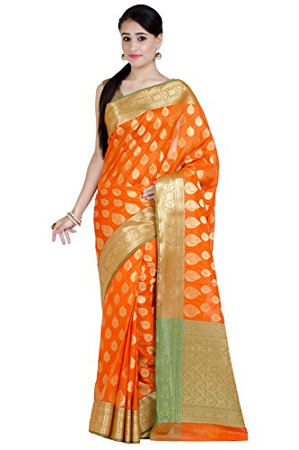 Chandrakala Women's Orange Kataan Silk Blend Banarasi Saree,Free Size(1260ORA)