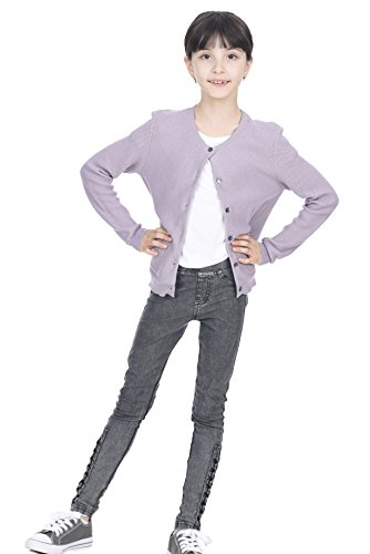 State Cashmere Girl's Cotton Cashmere Crewneck Knitted Button Long Sleeve Cardigan Sweater Lavender