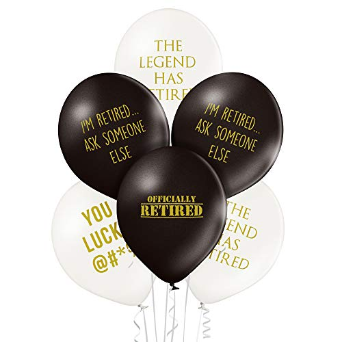 Pack of 12 Black Retirement Funny Balloons ()