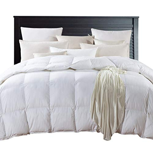 Squares Satin Coverlet (KING Size SUPER LUXURIOUS White Damask Stripe 1200 Thread Count Siberian Goose Down Comforter, Baffle Box Design, 100 Percent Egyptian Cotton, 1200 TC, 750FP, 50Oz, White Damask Stripe Style)