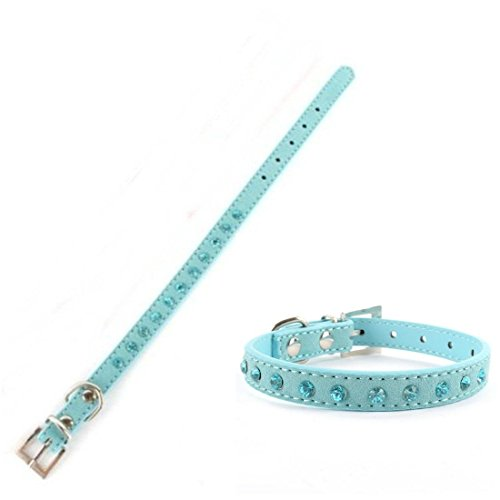 Superbly-Popular-Pet-Collar-Size-S-Puppy-Diamante-Cat-Crystal-Leather-Small-Suede-Color-Blue
