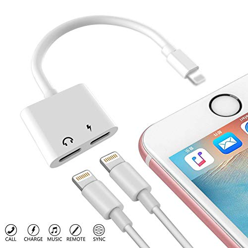 Nicexx Adapter & Splitter Replacement Compatible with iPhone 7, 7Plus, 8, 8Plus, X, Dual 8 Pin 2 in 1 Headphone Jack Aux Audio Music and Charge and Calling and Sync Cable Charger Connector, White