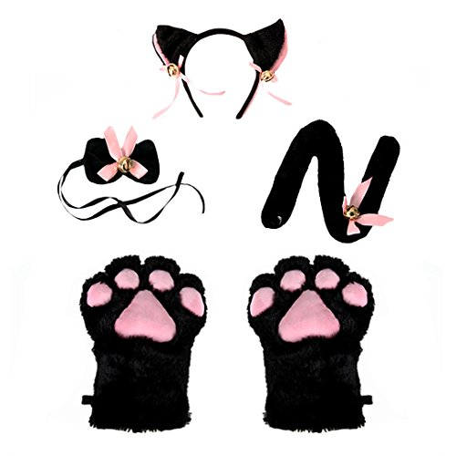Sexy Anime Dress Up (Monique Girls Women 4Pcs Lovely Cat Cosplay Set Neko Anime Costume Hair Accessories - Ears Tail Collar Paws Black)