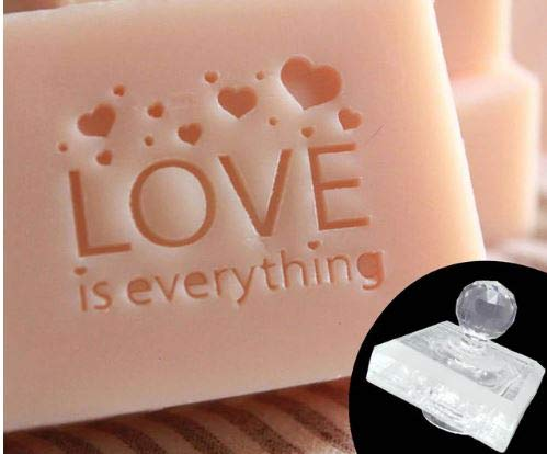 - Love Heart Pattern Handmade Resin soap Making Stamp Mold Clear DIY Organic Glass soap Seal with Handle Acrylic Chapters Custom