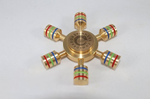 DragonSpinners New 2017 Original D6 Six Winged Brass Hand Fidget Spinner, Luxury Quality, Premium R188 Bearing, Help Focus and Reduce Stress, Spins 4 Minutes