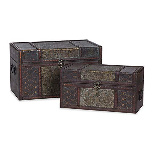 The Lucky Clover Trading 9542A Vintage Collection Floral Vine Storage Set of 2 Box, Mahogany and Gold from The Lucky Clover Trading
