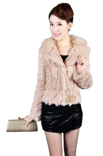 Queenshiny Women's 100% Rex Rabbit Fur Coat Jacket With Fox Collar-Light Camel-S(4-6) by Queenshiny