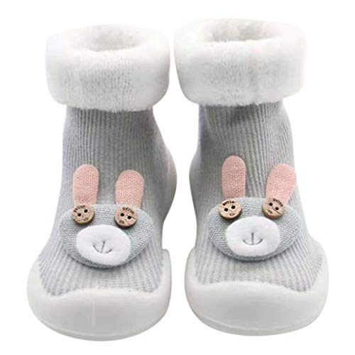 Kids Anti-Slip Slipper Floor Socks | Toddler Baby Boys Girls Non-Slip Socks Soft Bottom Rubber Booties Shoes (Age:2-3Years/Label Size:XL, Gray)