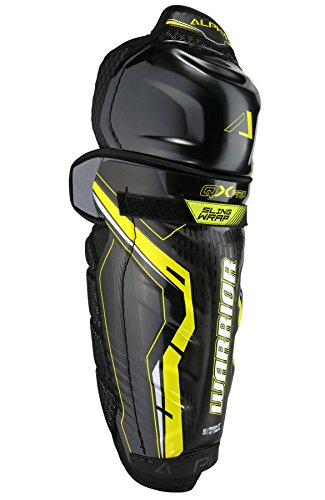 Pro Hockey Shin Guard (Warrior Senior Qx psg7 Pro Shin Guard, Size 16, Black/Yellow)