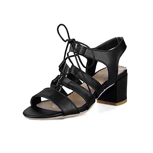 Qin & X Block Vrouwen Hoge Hakken Peep Toe Sandalen Zwart