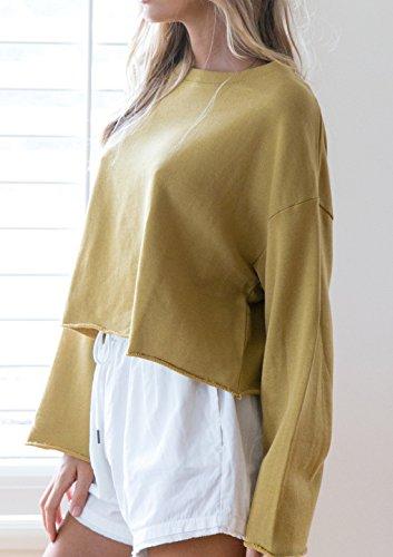 Pulls Femmes Rond Casual Automne Longues Hauts Col Fashion Court Jaune Shirts Couleur Chemisiers Sweat Unie Shirts Tops Printemps et Blouses Manches Jumpers T EqC86O