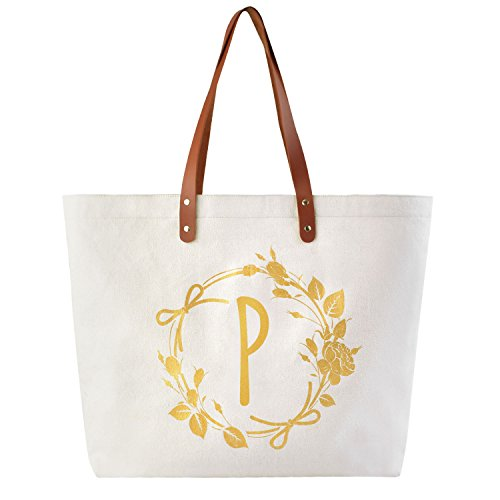 ElegantPark P Initial Personalized Gift Monogram Tote Bag with Interior Zip Pocket Canvas