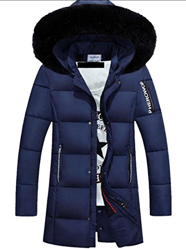 M&S&W Men's Winter Hooded Faux Fur Hooded Outdoor Jacket Parka Blue