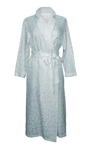 LINDA HARTMAN CELAIST - Women's Cotton and Silk Long Sleeve Long Robe w/Matte-Shine Scroll Jacquard, Smokey Aqua, ()