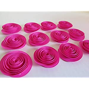 "Fuchsia Paper Roses, Set of 12 Loose Table Scatter Decorations, Hot Pink Wedding Decor, Bridal Shower Decor, 1.5"" Blossoms, Handmade Paper Flowers, Baby Nursery Home Decorating Accent 1"