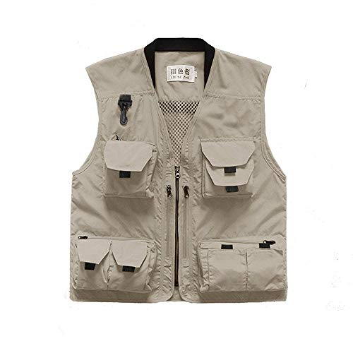 (Liesezhe Unisex Mesh Breathable Fishing Vest, Multi-Pockets Photography Travel Hunting Waistcoat Jacket for Adults and Youth (Khaki, TAG 5XL - fit Over 200lb))
