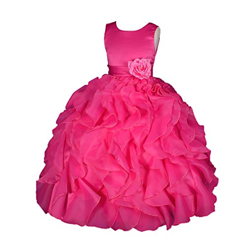 Dressy Daisy Girls' Satin Organza Ruffle Flower Girl Dresses Pageant Gown Party Occasion Dress Size 4T Hot -