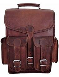 Vintage Messenger Bag Leather Canvas Retro Laptop School College Office Business Bag
