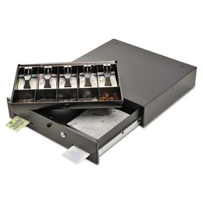 MMF 225-1060-01 Manual Button Cash Drawer with Bell, Locking Tray Cover, Gray