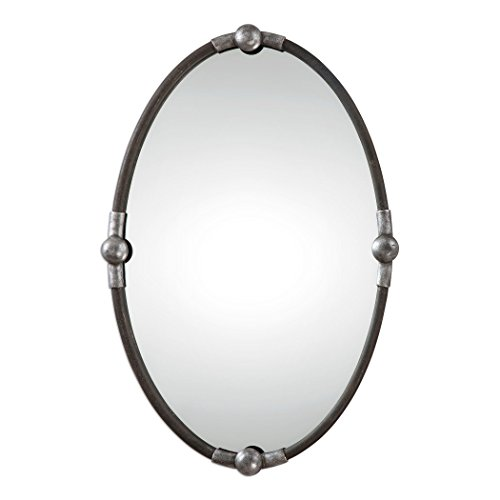 MY SWANKY HOME Rustic Black Iron Oval Wall Mirror | Vanity Silver -