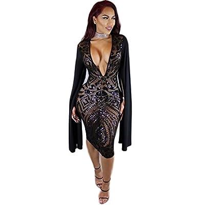 Star Han False Long Sleeve Deep V-Neck Sequins Club Dress