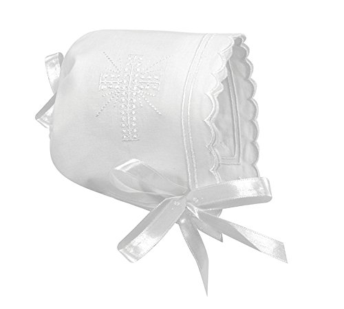 Baptism Bonnet - Stephan Baby Keepsake Cutwork Handkerchief Christening Bonnet with Scalloped Hem, White