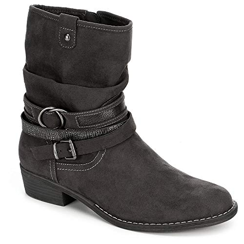 Slouch Ankle Heel Boots - XAPPEAL Womens Shin High Low Heel Slouch Boot Shoes, Dark Grey, US 7