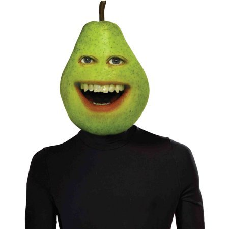 [Annoying Orange Pear Adult Costume Latex Mask One Size Fits Most] (Adult Pear Costumes)