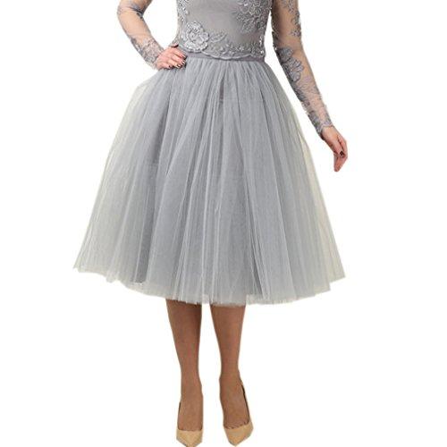 - Lisong Women Tea Length A-Line Tulle Midi Petticoat Bridal Skirt 20W US Gray