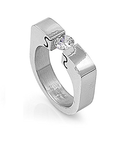 (Tension Set Cubic Zirconia Designer Band Ring Stainless Steel Size 7)