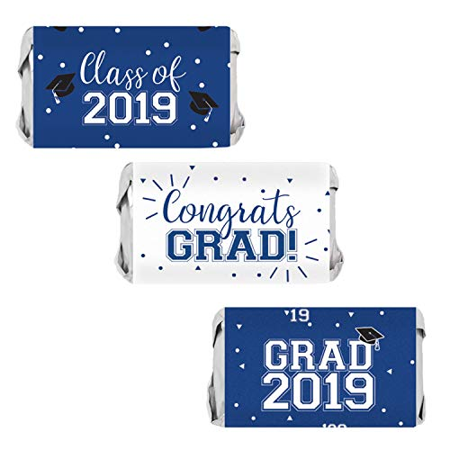 Class of 2019 Graduation Mini Candy Bar Wrappers | 54 Stickers (Blue) -