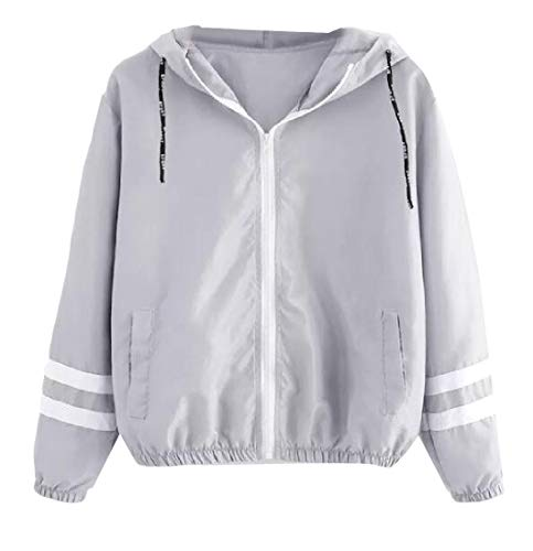 (Maisicolis Women Pinstripe Drawstring Wild Hooded Long Sleeve Lightweight Jacket Grey L)