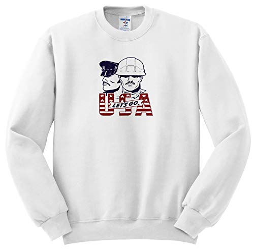 Russ Billington Designs - Lets Go USA- Funny Gay Icon Design in Faded Red and Blue on White - Sweatshirts - Adult Sweatshirt XL (ss_294382_4) -