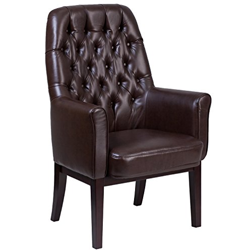 Flash Furniture High Back Traditional Tufted Brown Leather Side Reception Chair ()