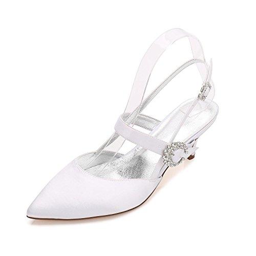 Chaussures YC de Soirée Hiver en Confort Party Talon Printemps Robe white Bout Automne Stiletto Pointu Soie amp; Blanc Pour L Mariage Eté Femmes xERRa
