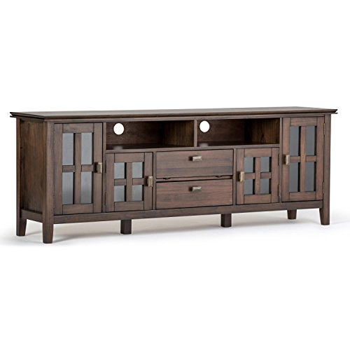 Simpli Home AXCHOL005-72-NAB Artisan Solid Wood 72 inch Wide Contemporary TV Media Stand in Natural Aged Brown For TVs up to 80 inches (Stand Tv And Storage)