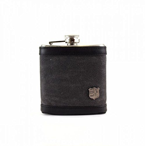 Halley Stevensons Waxed Twill Hip Flask Sleeve, 6oz Stainless Steel Hip Flask, Leather Trim, The British Belt Co. Langdale Collection