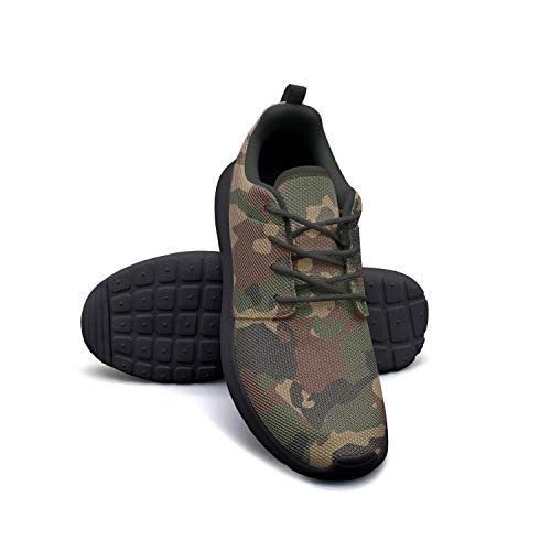 LOKIJM Camo Army Camouflage Woodland Black Gym Shoes for Women Slip Non-Slip Girl Running Shoes ()
