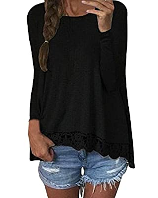 ZANZEA Women Crochet Lace Casual Patchwork Irregular Long Sleeve Autumn Solid T-Shirts Tops Blouse