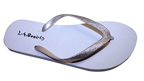 L.A. Beauty Womens Flip Flop with Glitter Straps and Comportable Footbed, Cool Looking -